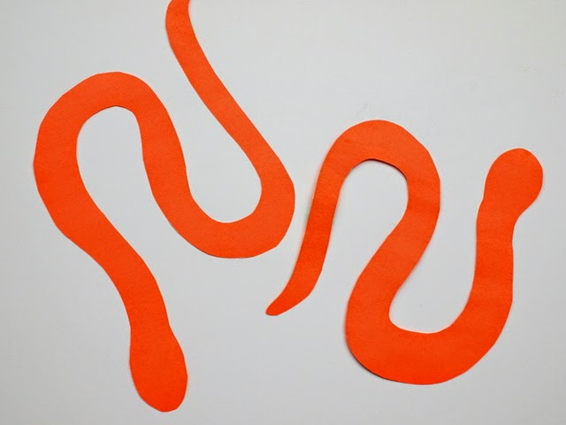 cut out snake shapes