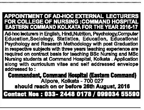 Appointment of AD-HOC External Lecturers