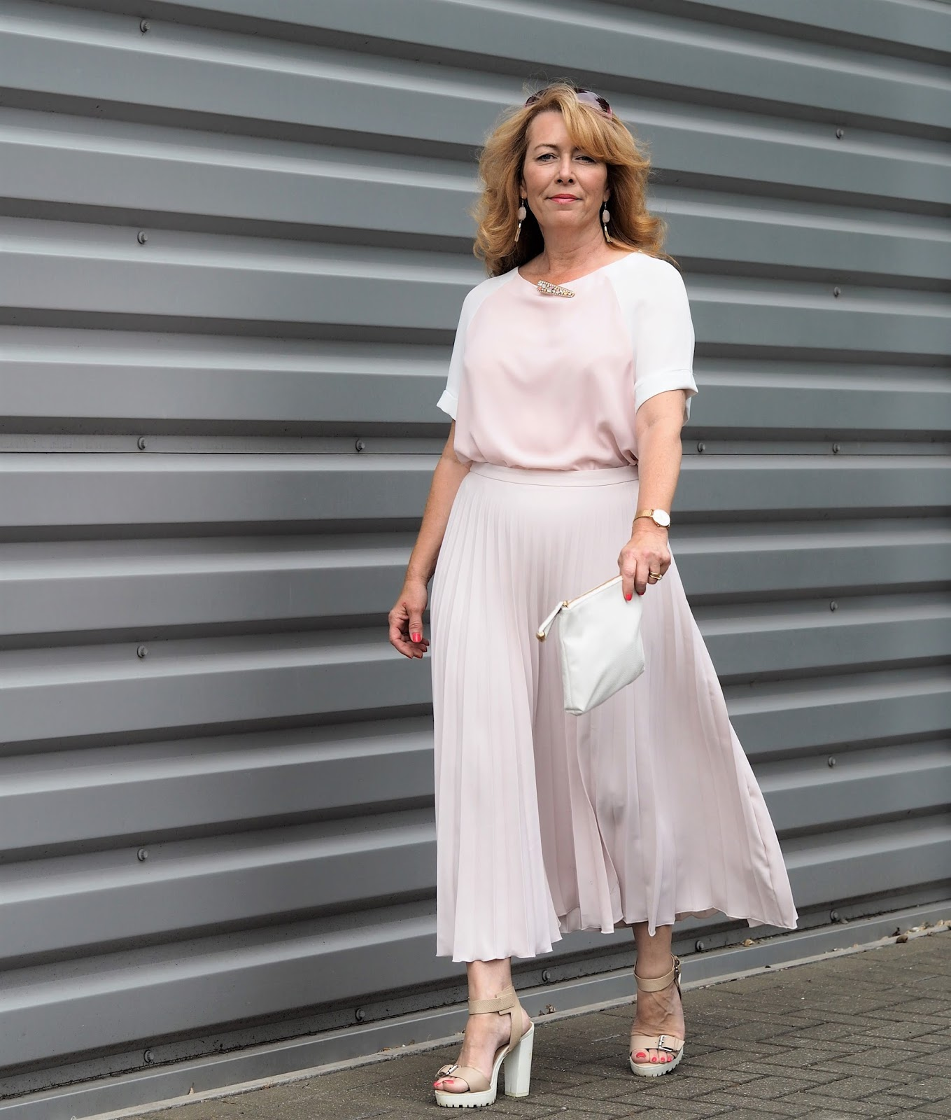 Showing how stylish monochrome can be, Vanity and Me blogger Laurie is elegant in pale pink