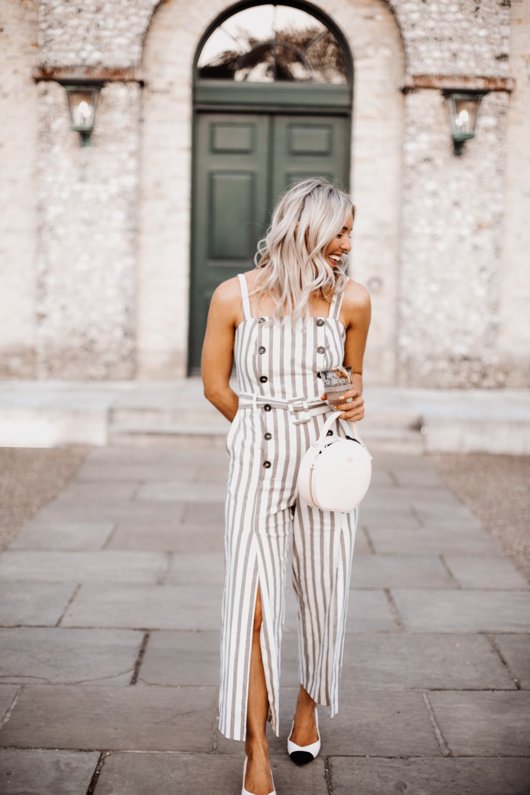 stripe grey jumpsuit
