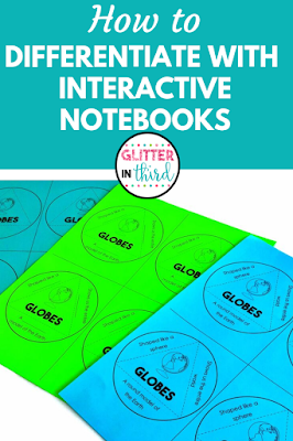 Pinterest pin of interactive notebook differentiation