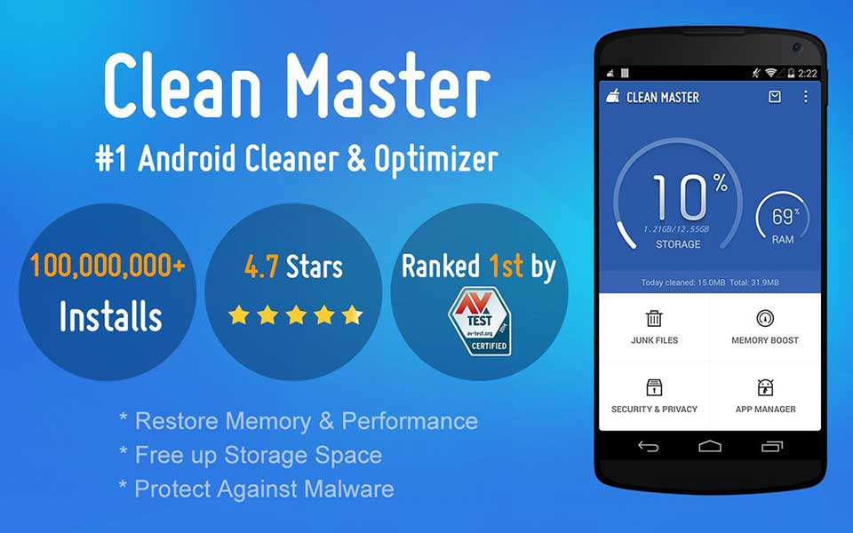 Clean Master- Space Cleaner & Antivirus & Free Ram - Top Game Free