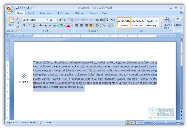 Memilih Teks Pada Microsoft Word