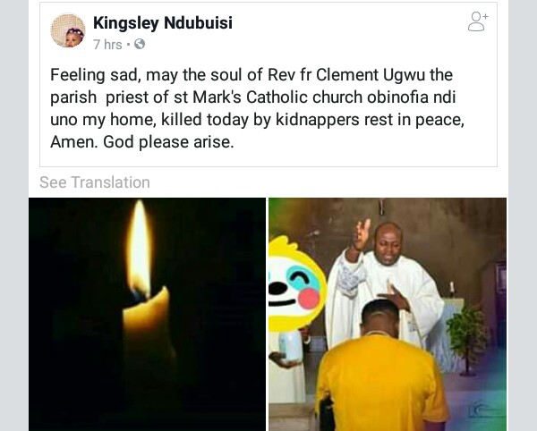 Decomposed body of kidnapped Enugu Catholic priest found in the bush