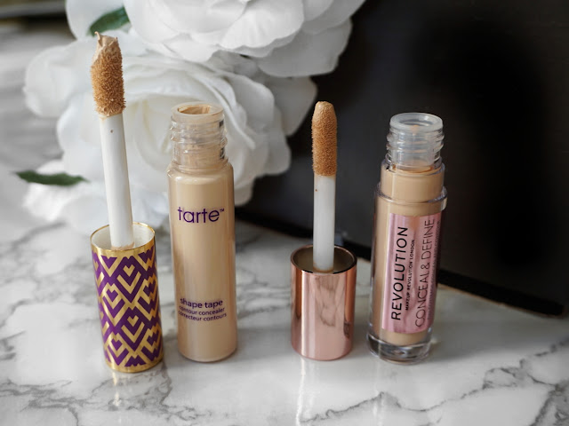 TARTE SHAPE TAPE CONCEALER WAND AND CASING VS MAKEUP REVOLUTION CONCEAL AND DEFINE BY MAKEUP REVOLUTION WAND CASING