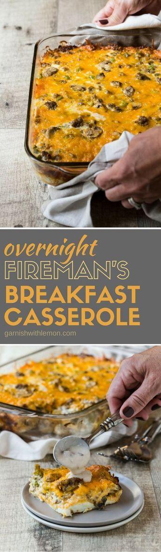 Fireman's Overnight Breakfast Casserole  #fireman's #overnight #breakfast #casserole