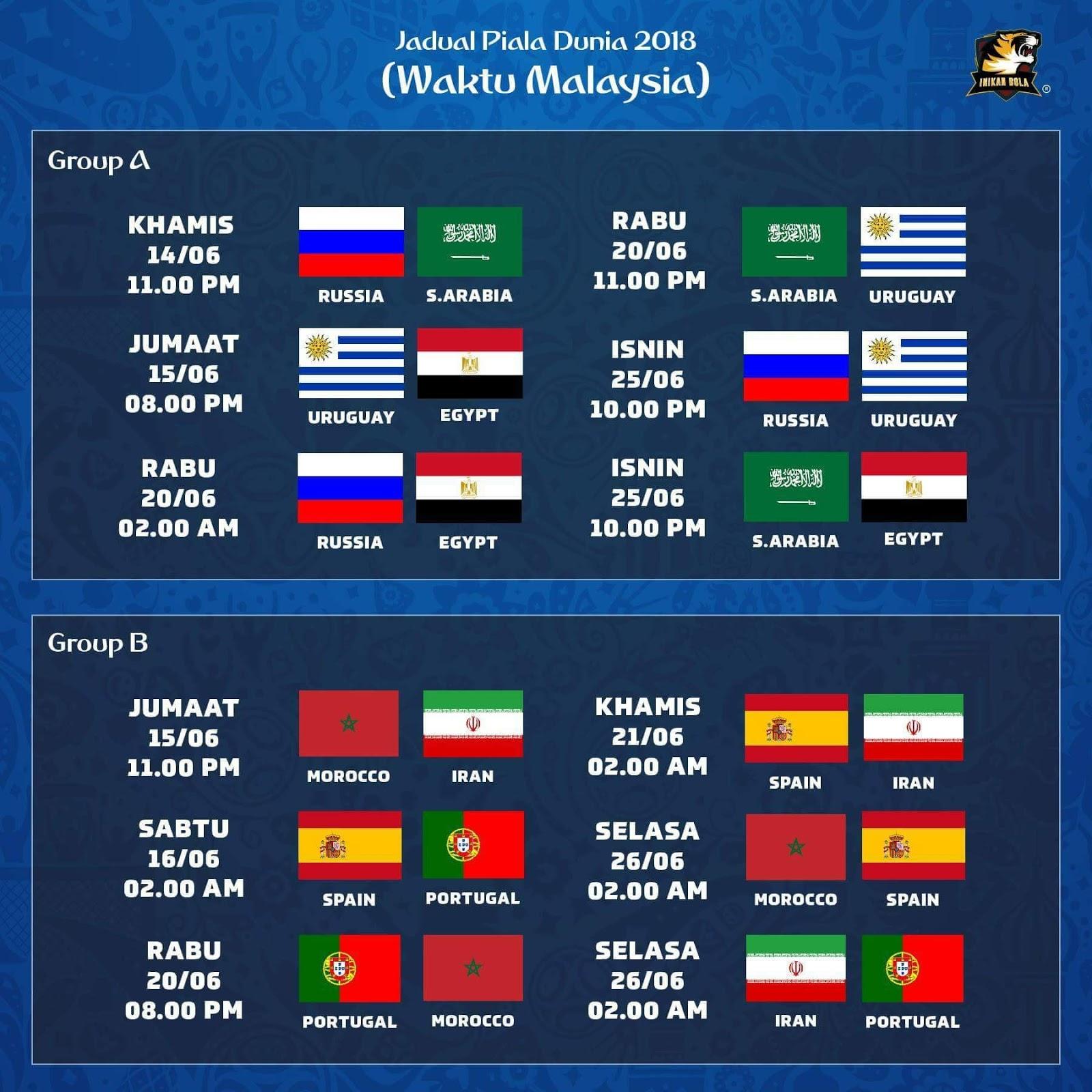 Ok Jom Tengok Jadual Perlawanan Piala Dunia Russia  Dan Perlawanan Yang Bakal Ditayangkan Di Rtm  Dan Di Stadium Astro