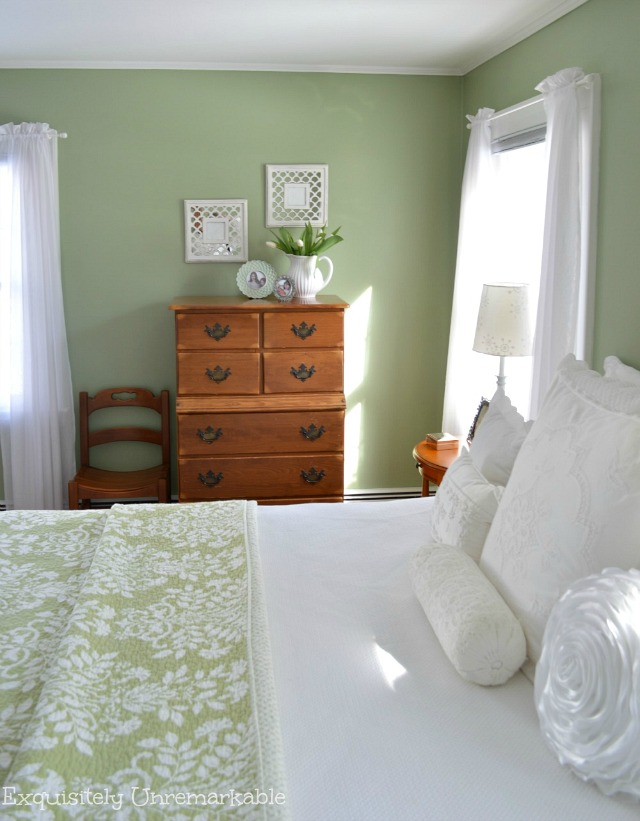 Cottage Style Green Master Bedroom