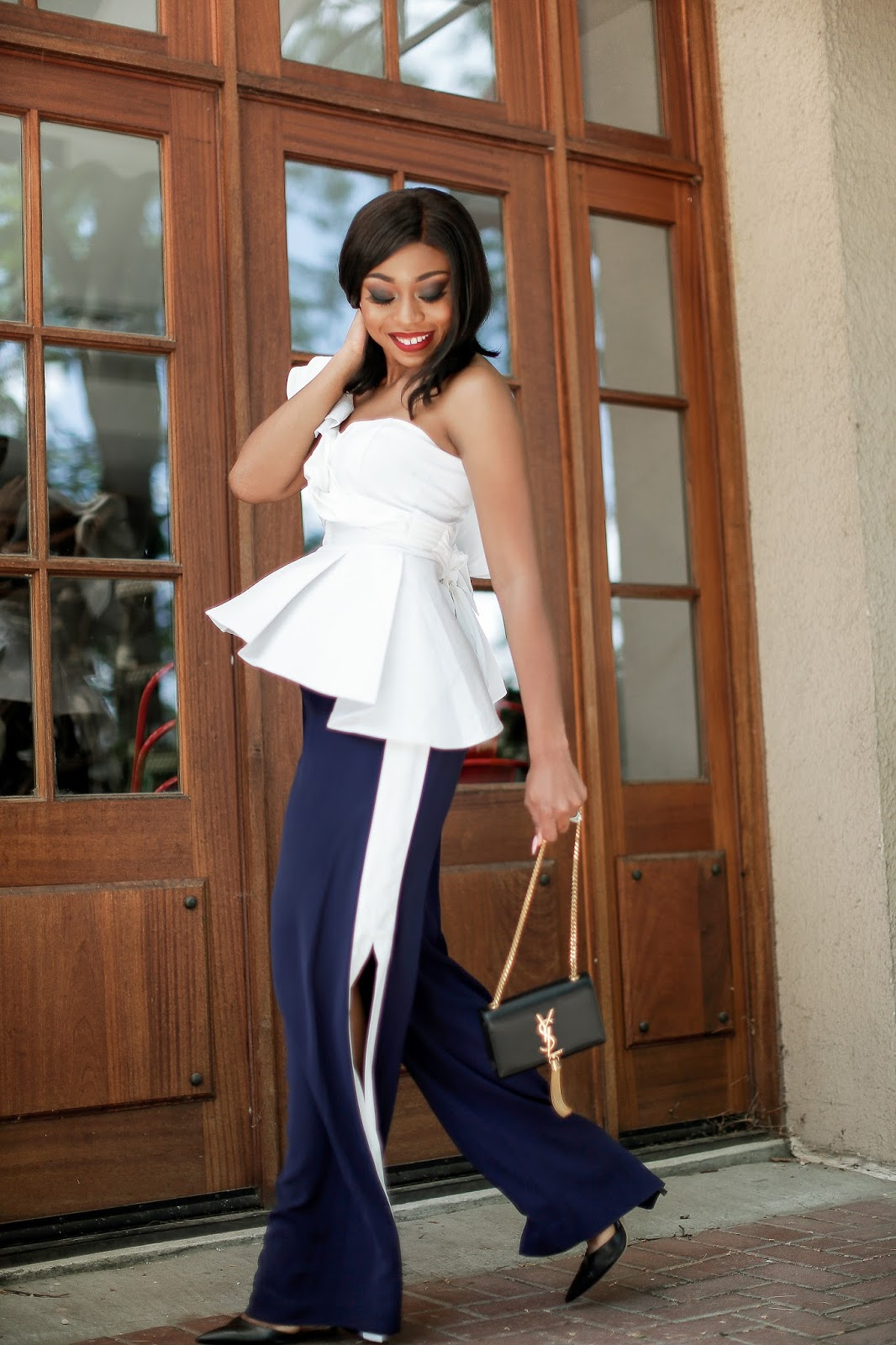 Ruffles peplum top and track pants, www.jadore-fashion.com