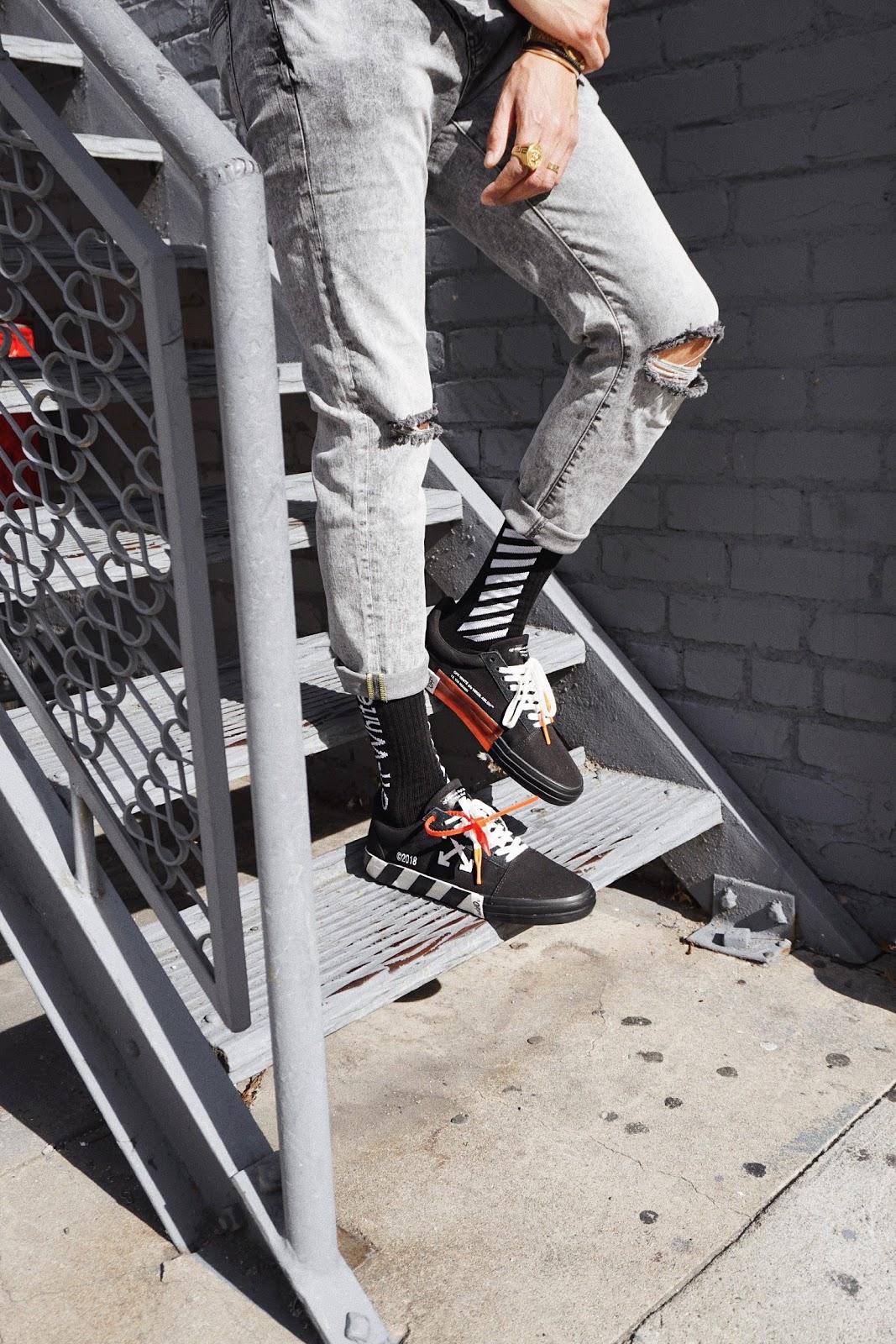 mens fashion off white off white socks streetstyle vulc black