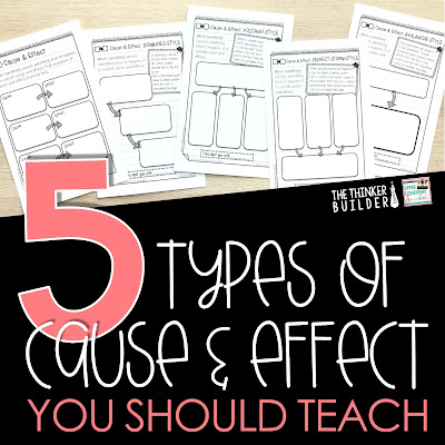 Read about five types of cause and effect to teach to upper elementary students. Help students use the cause - effect text structure to dig deeper into their reading.