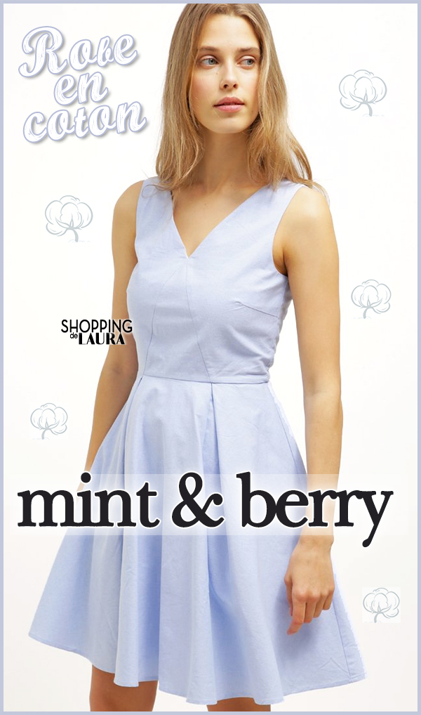 Robe courte coroll en coton bleu ciel Mint&Berry