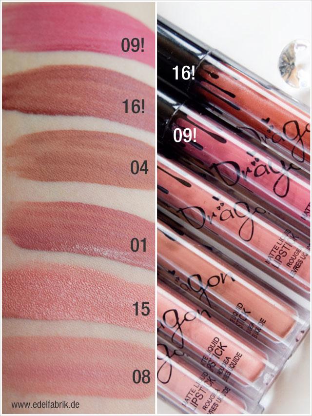 Die Nudetöne der Kylie Jenner Lipstick Dupes von amazon mit Swtaches