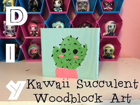 DIY Kawaii Succulent Woodblock Art
