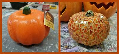 diy dollar store mosaic pumpkin