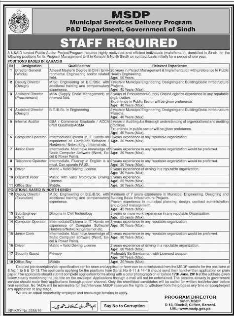 Government Jobs in Municipal Services Delivery Program Sindh