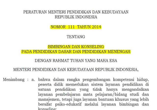 Permendikbud Nomor 111 Tahun 2014 Tentang Bimbingan Dan Konseling Pada Pendidikan Dasar Dan