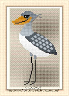 Shoebill, Free and easy printable cross stitch pattern