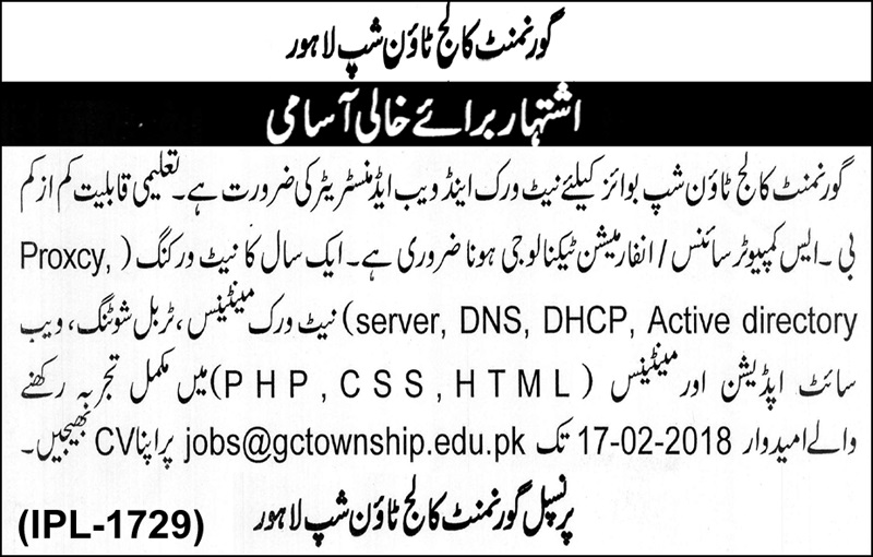 New Govt Vacancies in College For Boys Township Lahore
