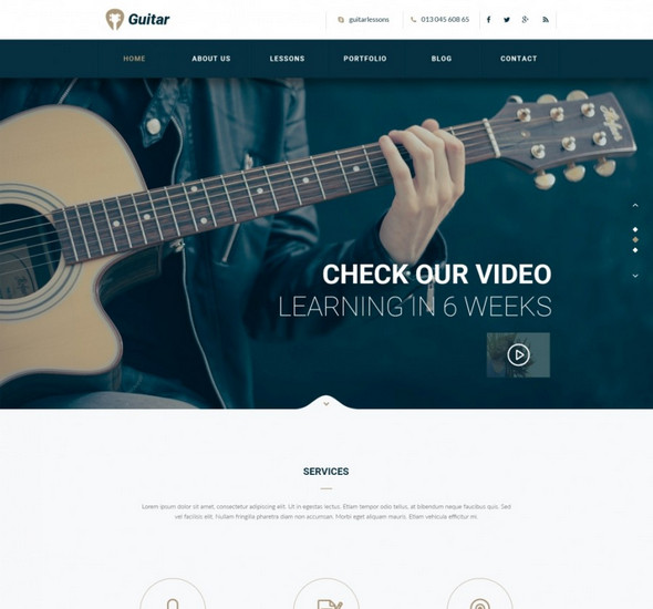 Guitar – Free PSD Template