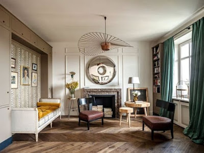 vertigo lighting by Constance Guisset in a living room designed by Colombe design