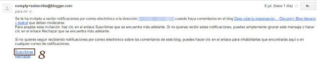 Paso 8 para volver a recibir los comentarios de tu blog por mail
