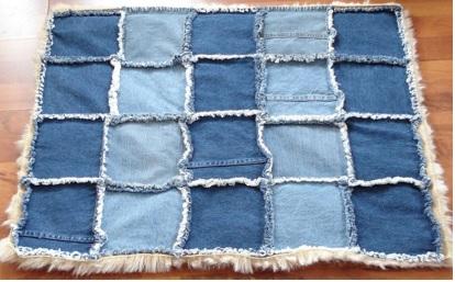 cómo hacer una alfombra de jean