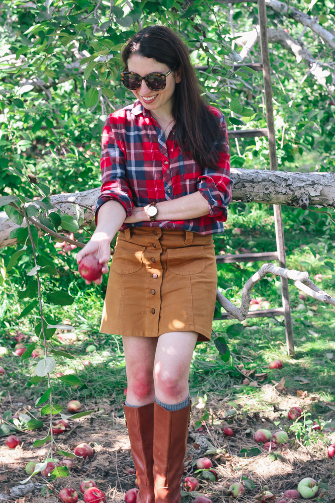 Boston Life and Style Blogger, The Northern Magnolia, enjoyed a day of apple picking at Honey Pot Hill Orchards in Stow, Massachusetts with her family donned in plaid.