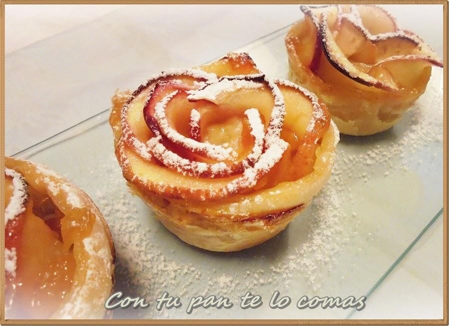 Rosas de hojaldre y manzanas