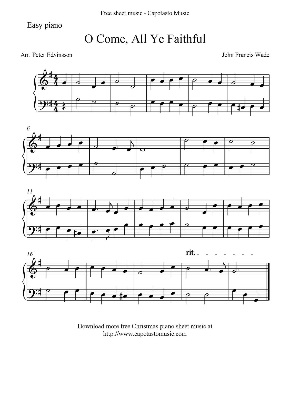 Free Printable Sheet Music Free Easy Christmas Piano Sheet Music O Come All Ye Faithful