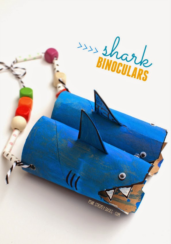 Here's a fun take on toilet roll binoculars- turn them into sharks and add some lovely decorative beads!