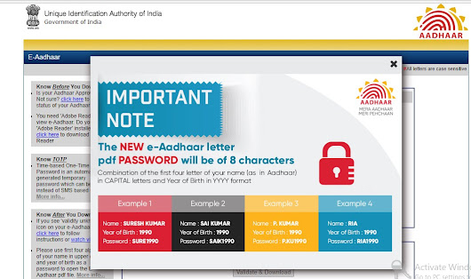 New e-Aadhaar Letter PDF Password