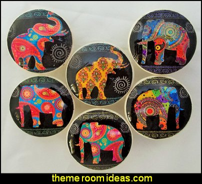Paisley Elephant Cabinet Knobs  exotic theme bedroom decorations