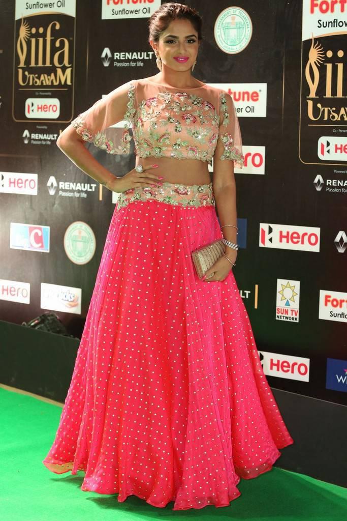 Indian Model Asmita Sood At IIFA Awards 2017 In Pink Dress
