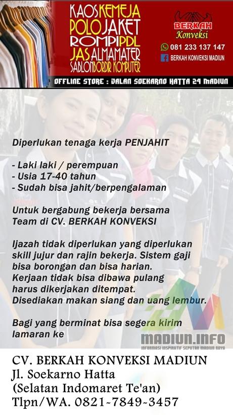 Lowongan kerja Pola dan Jahit di Cirebon