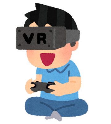 VRゲームをプレイする人のイラスト(ゲームパッド)