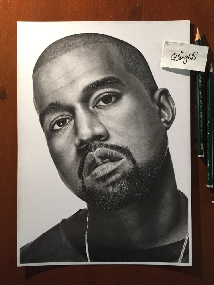 11-Kanye-West-Gurekbal-Bhachu-Realistic-Celebrity-Portraits-Drawings