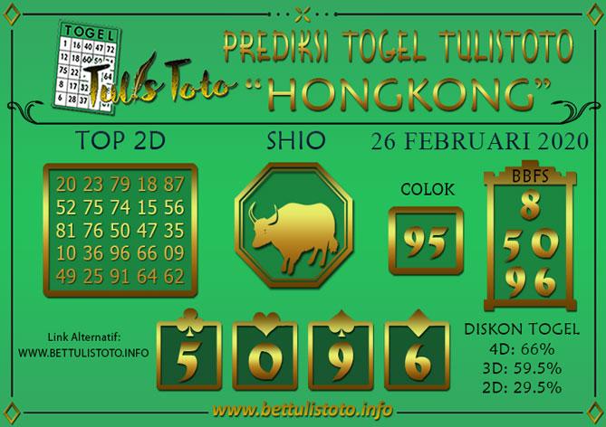 Prediksi Togel HONGKONG TULISTOTO 26 FEBRUARI 2020