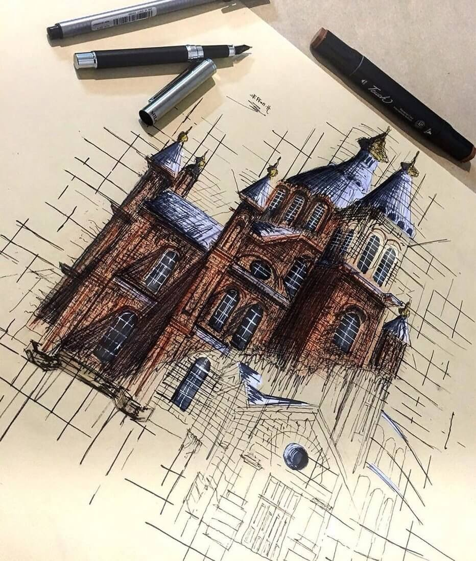 10-Uspenski-Cathedral-Erfan-Hasankhani-Ink-and-Color-Architectural-Drawings-www-designstack-co