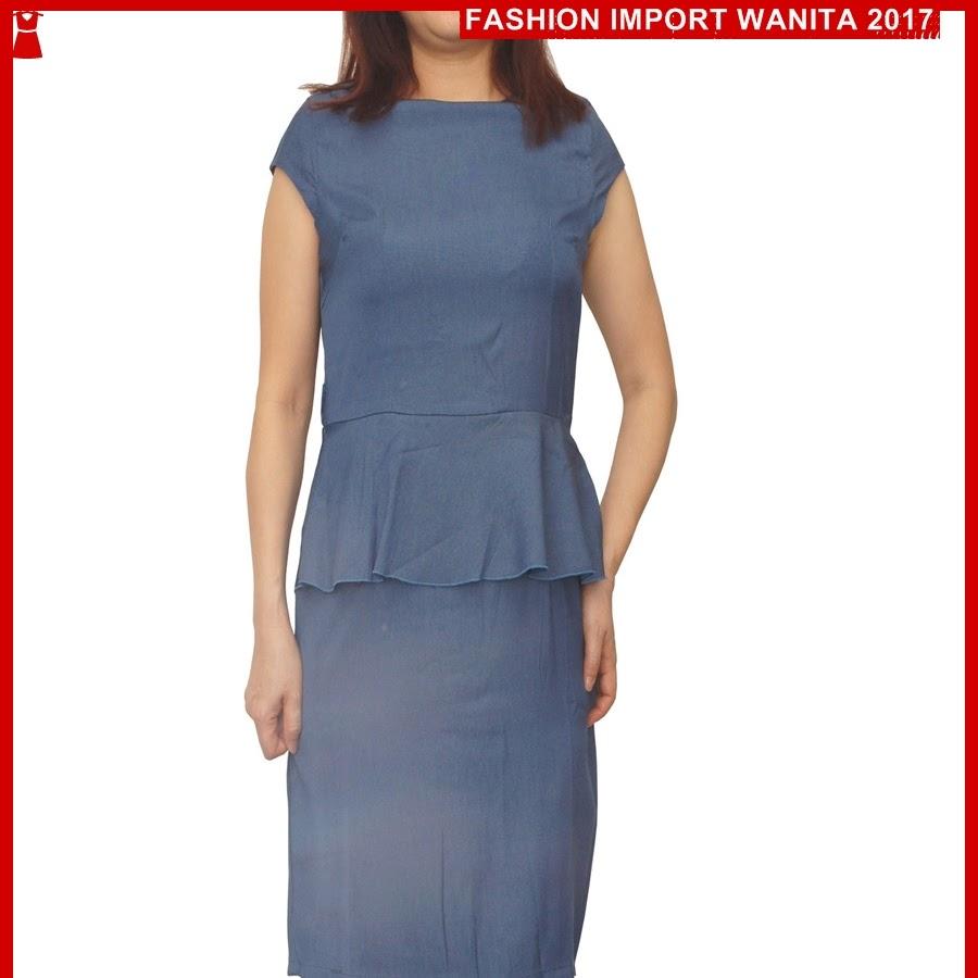 ADR183 Dress Wanita Denim Peplum Biru Import BMG