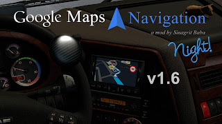 ets 2 google maps navigation night version v1.6