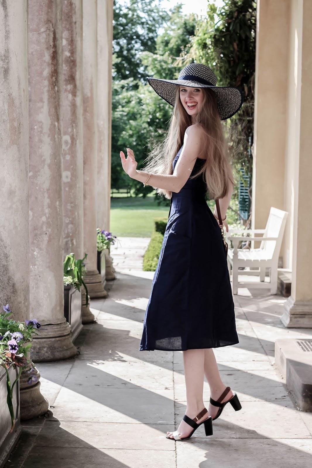 British Blogger Style Midi Linen Dress for Summer