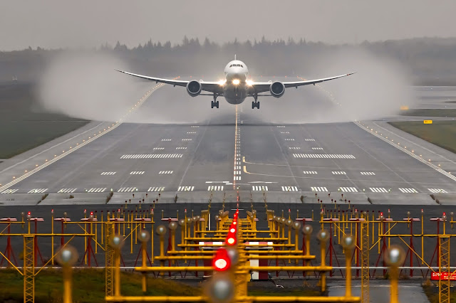 Boeing 787-8 Dreamliner While Dramatic Takeoff