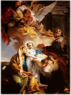Santa ana enseñando a leer a la virgen, san Joaquin mirando al cielo y rodeados de angeles