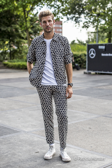 Martijn Nekoui wearing Dries van Noten menswear - total outfit in black and white