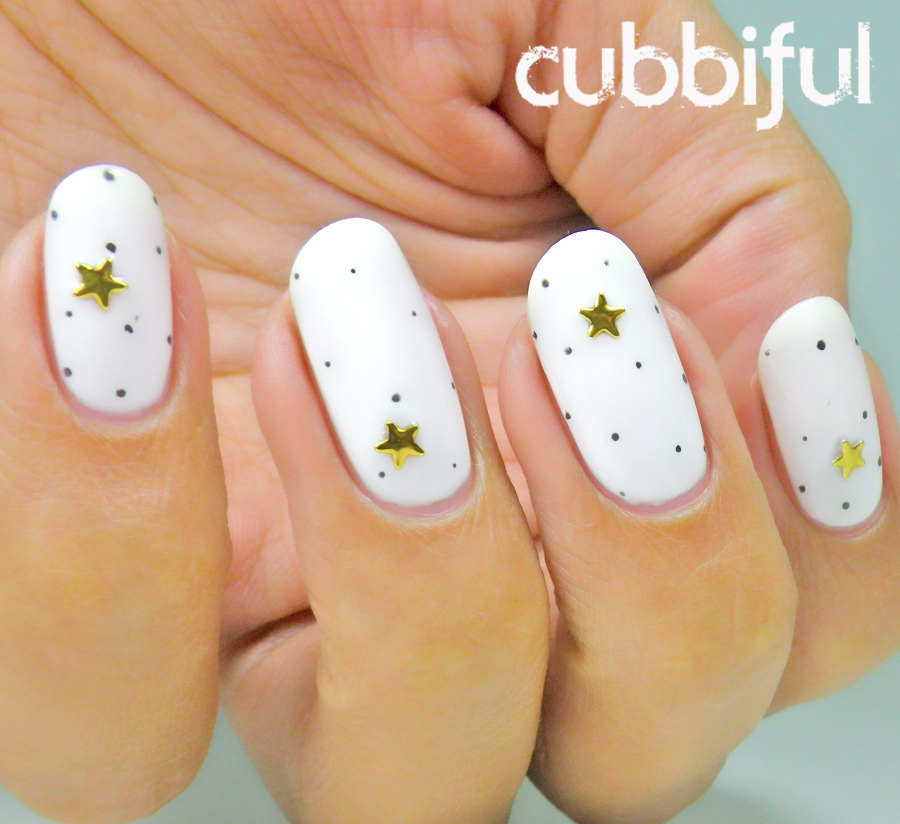 Polka dots and stars nails