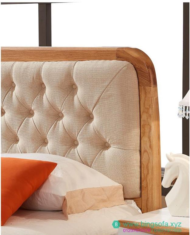 Mẫu giường ngủ bọc nệm vải GN21