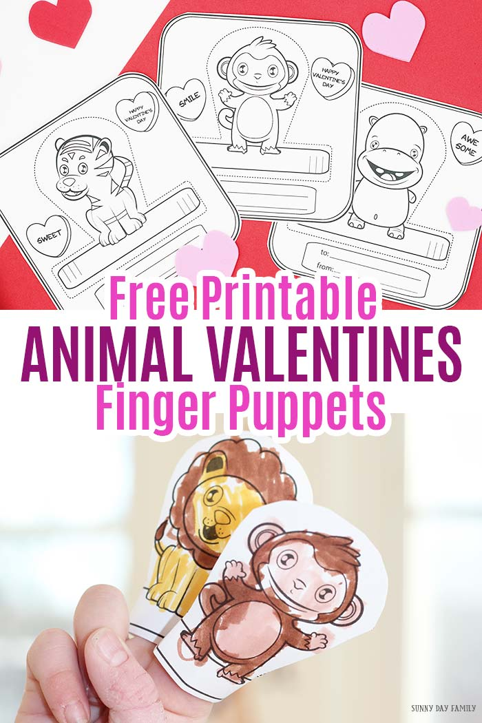 Adorable animal valentines that are perfect for preschoolers! These cute cards are ready for your kids to color then turn into fun finger puppets. Such a great non candy valentines day idea! #valentinesday #valentine #printablevalentines #printablesforkids