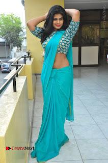 Telugu Actress Alekhya Stills in Green Saree at Swachh Hyderabad Cricket Press Meet  0088.JPG