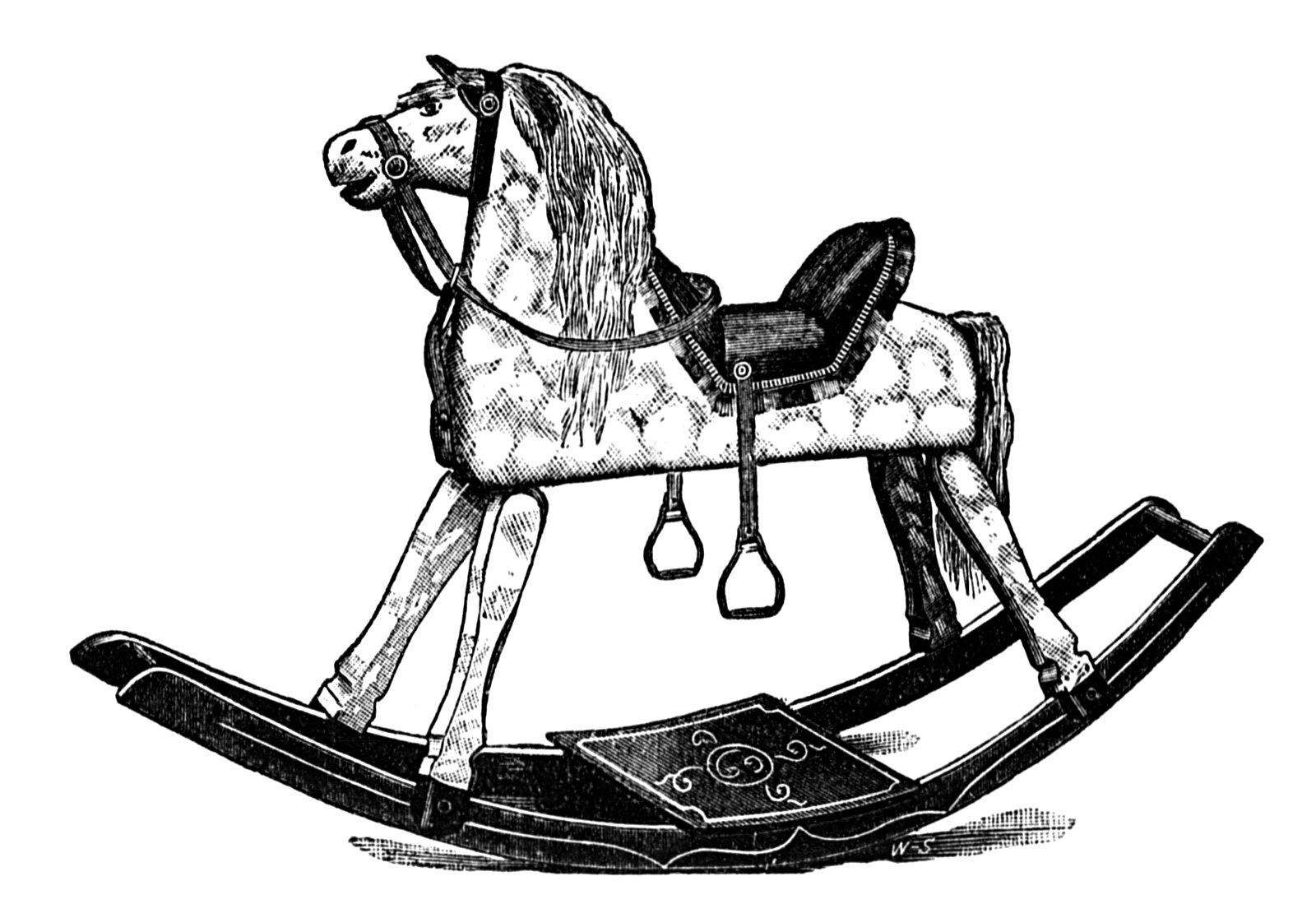 Vintage Snips and Clips: Old Victorian Rocking Horse